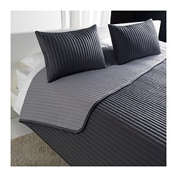 "KARIT bedspread and 2 cushion covers, gray Bedspread length: 110 "" Bedspread width: 102 "" Cushion cover length: 16 "" Bedspread length: 280 cm Bedspread width: 260 cm Cushion cover length: 40 cm"