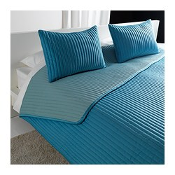 KARIT bedspread and 2 cushion covers, turquoise Bedspread length: 280 cm Bedspread width: 260 cm Cushion cover length: 40 cm
