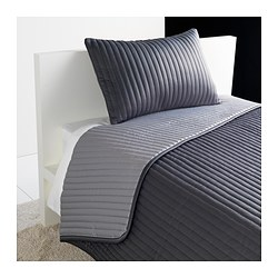 KARIT bedspread and cushion cover, grey Bedspread length: 280 cm Bedspread width: 180 cm Cushion cover length: 40 cm