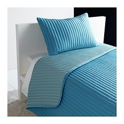 "KARIT bedspread and cushion cover, turquoise Bedspread length: 110 "" Bedspread width: 71 "" Cushion cover length: 16 "" Bedspread length: 280 cm Bedspread width: 180 cm Cushion cover length: 40 cm"