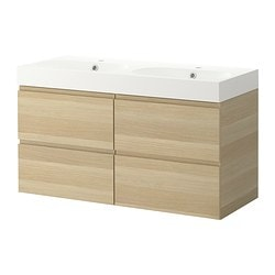 GODMORGON/ BRÅVIKEN wash-stand with 4 drawers, white stained oak Width: 122 cm Wash-stand width: 120 cm Depth: 49 cm