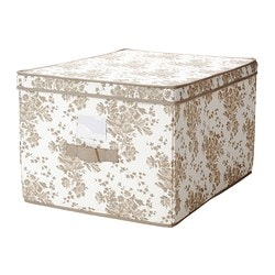 GARNITYR box with lid, white flower, beige Width: 42 cm Depth: 56 cm Height: 32 cm