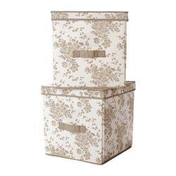 GARNITYR box with lid, white flower, beige Width: 31 cm Depth: 34 cm Height: 32 cm