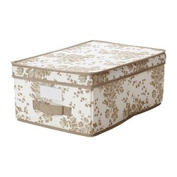 GARNITYR box with lid, white flower, beige Width: 28 cm Depth: 42 cm Height: 16 cm