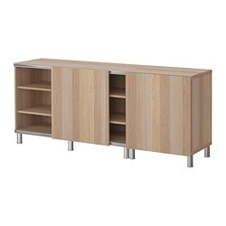 BESTÅ storage combination w sliding doors, white stained oak Width: 180 cm Depth: 40 cm Height: 74 cm