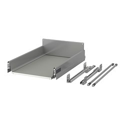 RATIONELL deep fully-extending drawer, silver-colour Width: 35.5 cm Depth: 53 cm Height: 13.5 cm