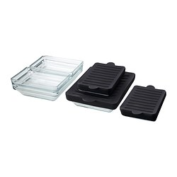 IKEA PS 2012 oven/serving dish, set of 6, clear glass, black