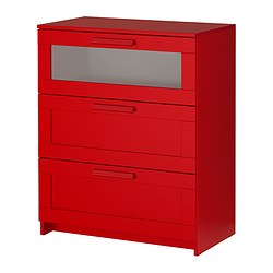 BRIMNES chest of 3 drawers, frosted glass, red Width: 78 cm Depth: 41 cm Height: 95 cm