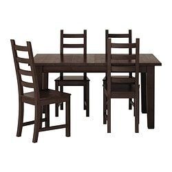 STORNÄS/ KAUSTBY table and 4 chairs, brown-black