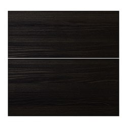 "GNOSJÖ drawer front, set of 2, wood effect black Width: 23 7/8 "" Height: 23 7/8 "" Thickness: 3/4 "" Width: 60.5 cm Height: 60.5 cm Thickness: 1.9 cm"