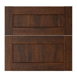 ROCKHAMMAR deep drawer front, set of 2, wood effect brown Width: 39.6 cm Height: 56.6 cm Thickness: 1.9 cm
