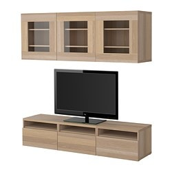 BESTÅ TV storage combination, white stained oak Width: 180 cm Depth: 40 cm Height: 38 cm
