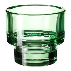 "GLANSIG tealight holder, green Diameter: 3 ¼ "" Height: 3 ¼ "" Diameter: 8 cm Height: 8 cm"