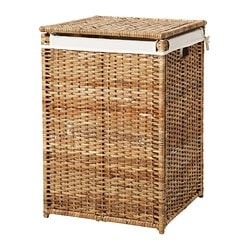 BRANÄS laundry basket with lining, rattan Width: 41 cm Depth: 41 cm Height: 60 cm