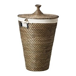 "ÅSUNDEN laundry basket, seagrass Height: 22 7/8 "" Volume: 13 gallon Height: 58 cm Volume: 50 l"