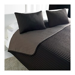 "KARIT bedspread and 2 cushion covers, brown Bedspread length: 110 "" Bedspread width: 102 "" Cushion cover length: 16 "" Bedspread length: 280 cm Bedspread width: 260 cm Cushion cover length: 40 cm"