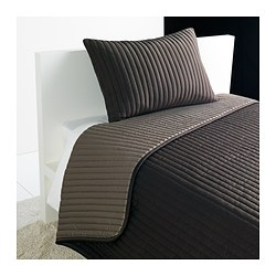 KARIT bedspread and cushion cover, brown Bedspread length: 280 cm Bedspread width: 180 cm Cushion cover length: 40 cm