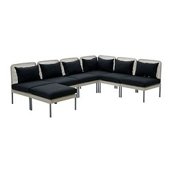 ENHOLMEN sofa combination, black, light grey Width: 258 cm Depth: 69 cm Total depth: 195 cm