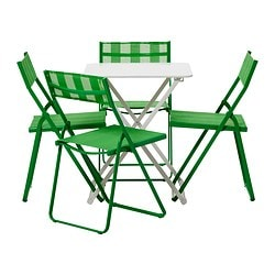 HÄRÖ table and 4 chairs, green, white