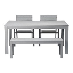 FALSTER table, bench and 2 armchairs, grey