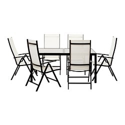AMMERÖ table and 6 chairs, dark brown