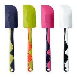 GUBBRÖRA rubber spatula, blue/white, red/green Length: 25 cm