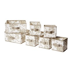 GARNITYR box, set of 7, white flower, beige