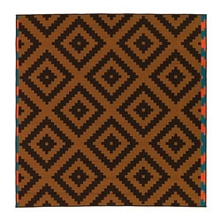 LAPPLJUNG RUTA rug, low pile, brown, orange Length: 200 cm Width: 200 cm Surface density: 1700 g/m²