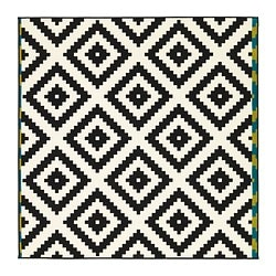 LAPPLJUNG RUTA rug, low pile, black, white Length: 200 cm Width: 200 cm Surface density: 1700 g/m²