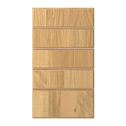 NORJE drawer front, set of 5, oak veneer Width: 39.6 cm Height: 69.4 cm Thickness: 1.9 cm