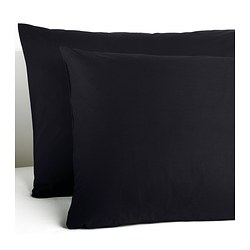 "DVALA pillowcase, black Thread count: 144 square inches Length: 20 "" Width: 30 "" Thread count: 144 square inches Length: 51 cm Width: 76 cm"