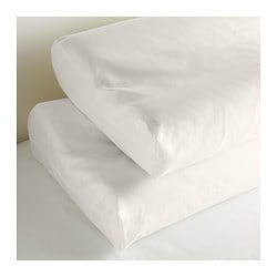 "DVALA pillowcase for memory foam pillow, white Thread count: 144 /inch² Length: 14 "" Width: 23 "" Thread count: 144 /inch² Length: 35 cm Width: 59 cm"