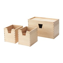 FÖRHÖJA box, set of 4, birch