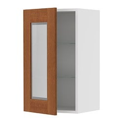 "AKURUM wall cabinet with glass door, Ädel medium brown, white Width: 14 7/8 "" Depth: 13 1/8 "" Height: 30 3/8 "" Width: 38 cm Depth: 33 cm Height: 77 cm"