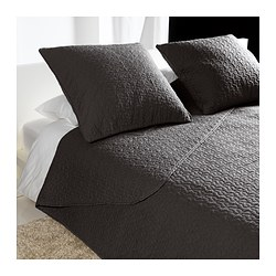 ALINA bedspread and 2 cushion covers, dark grey Bedspread length: 280 cm Bedspread width: 260 cm Cushion cover length: 65 cm