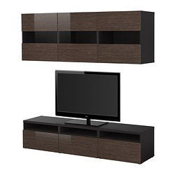 "BESTÅ TV storage combination, high-gloss/brown, black-brown bamboo pattern Width: 70 7/8 "" Depth: 15 3/4 "" Height: 15 "" Width: 180 cm Depth: 40 cm Height: 38 cm"