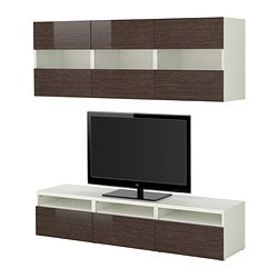 BESTÅ TV storage combination, high-gloss/brown, white bamboo pattern Width: 180 cm Depth: 40 cm Height: 38 cm