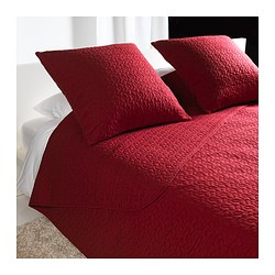 "ALINA bedspread and 2 cushion covers, dark red Bedspread length: 110 "" Bedspread width: 102 "" Cushion cover length: 26 "" Bedspread length: 280 cm Bedspread width: 260 cm Cushion cover length: 65 cm"