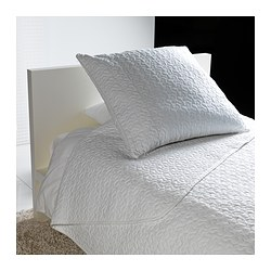 "ALINA bedspread and cushion cover, white Bedspread length: 110 "" Bedspread width: 71 "" Cushion cover length: 26 "" Bedspread length: 280 cm Bedspread width: 180 cm Cushion cover length: 65 cm"