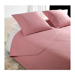 "ALINA bedspread and 2 cushion covers, pink Bedspread length: 110 "" Bedspread width: 102 "" Cushion cover length: 26 "" Bedspread length: 280 cm Bedspread width: 260 cm Cushion cover length: 65 cm"