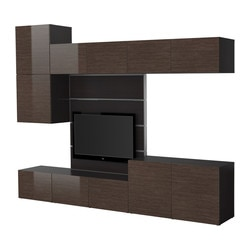 "BESTÅ/FRAMSTÅ TV storage combination, high-gloss/brown, black-brown bamboo pattern Width: 118 1/8 "" Depth: 15 3/4 "" Height: 90 1/2 "" Width: 300 cm Depth: 40 cm Height: 230 cm"