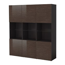 "BESTÅ storage combination with doors, high-gloss/brown, black-brown bamboo pattern Width: 70 7/8 "" Depth: 15 3/4 "" Height: 75 5/8 "" Width: 180 cm Depth: 40 cm Height: 192 cm"