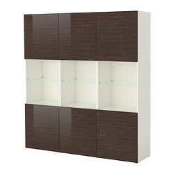 BESTÅ storage combination with doors, high-gloss/brown, white bamboo pattern Width: 180 cm Depth: 40 cm Height: 192 cm
