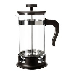 "UPPHETTA coffee/tea maker, stainless steel, glass Diameter: 4 "" Height: 9 "" Volume: 34 oz Diameter: 10 cm Height: 22 cm Volume: 1 l"