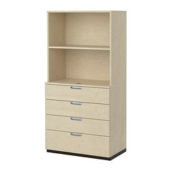 GALANT storage combination with drawers, birch veneer Width: 80 cm Depth: 45 cm Height: 160 cm