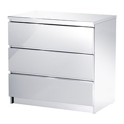 MALM chest of 3 drawers, mirror effect Width: 80 cm Depth: 50 cm Height: 78 cm