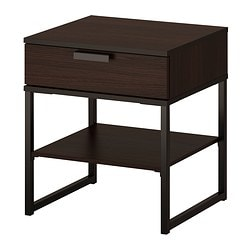 TRYSIL, Nightstand, dark brown, black