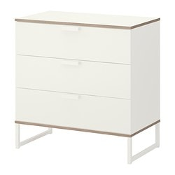 TRYSIL chest of 3 drawers, light grey, white Width: 75 cm Depth: 40 cm Height: 77 cm