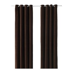SANELA curtains, 1 pair, dark brown Length: 300 cm Width: 140 cm Weight: 1.00 kg