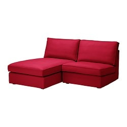 KIVIK one-seat section with chaise longue, Dansbo medium red Width: 180 cm Depth: 163 cm Height: 83 cm
